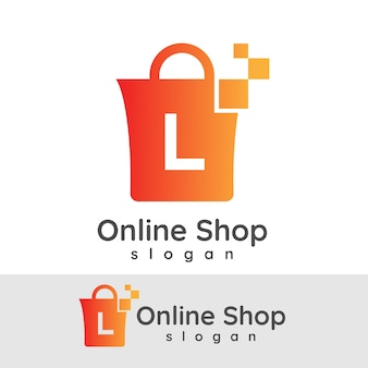 Online winkelen initiaal letter l logo ontwerp