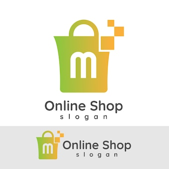 Online winkelen initiaal letter m logo ontwerp