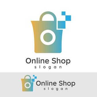 Online winkelen initiaal letter o logo ontwerp