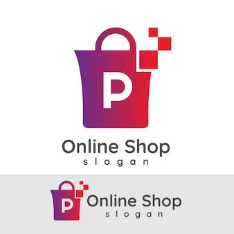 Online winkelen initiaal letter p logo ontwerp
