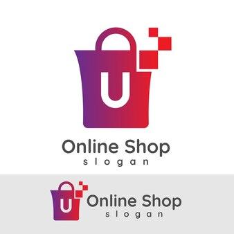 Online winkelen initiaal letter u logo ontwerp