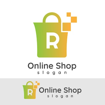 Online winkelen initiële letter r logo ontwerp