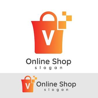 Online winkelen initiële letter v logo ontwerp
