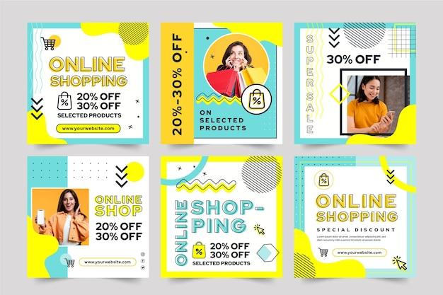 Online winkelen instagram-berichten Gratis Vector