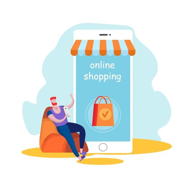 Online winkelen, internetgoederen bestellen, klant