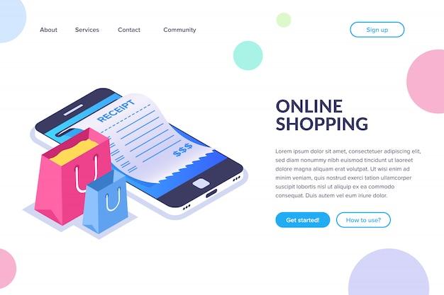 Online winkelen isometrisch concept. boodschappentassen op de achtergrond van een mobiele telefoon. ontvangstbewijs op het smartphonescherm. platte bestemmingspagina