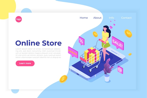 Online winkelen isometrisch concept met karakters
