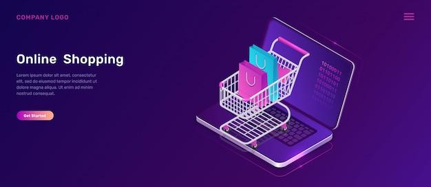 Online winkelen isometrisch concept, winkelwagen