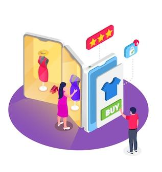 Online winkelen isometrisch ontwerpconcept met mannelijke en vrouwelijke personages die hun eigen kleding online kiezen door smartphones illustratie