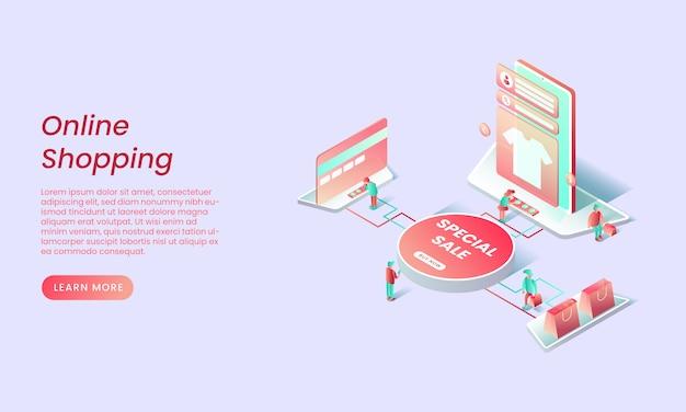 Online winkelen isometrische bestemmingspagina concept