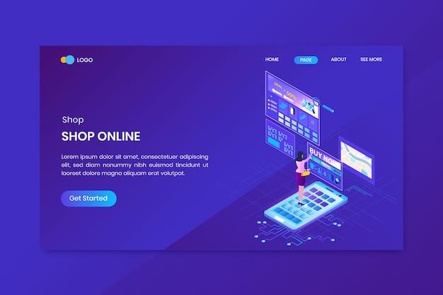 Online winkelen isometrische concept bestemmingspagina