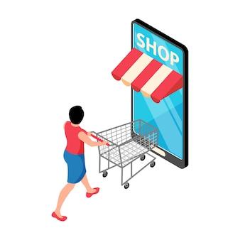 Online winkelen isometrische concept illustratie met smartphone en klant met lege trolley 3d
