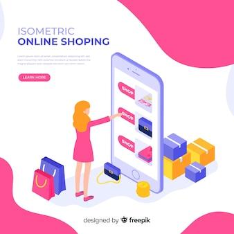 Online winkelen isometrische illustratie