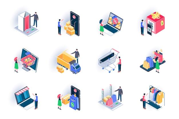 Online winkelen isometrische pictogrammen instellen. internet marktplaats, korting winkelen, wereldwijde export vlakke afbeelding. online bestelling en levering aan huis 3d isometrie pictogrammen met personages.