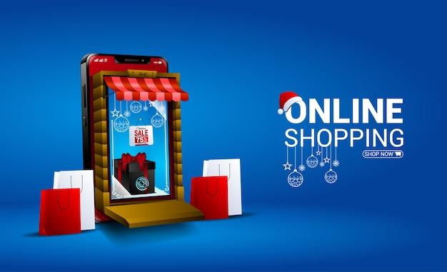 Online winkelen kerstuitverkoop met mobiel