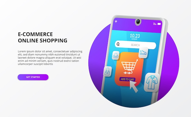 Online winkelen klik op kopen op mobiele e-commerce bestemmingspagina concept digitale marketing promotie 3d telefoon moderne illustratie