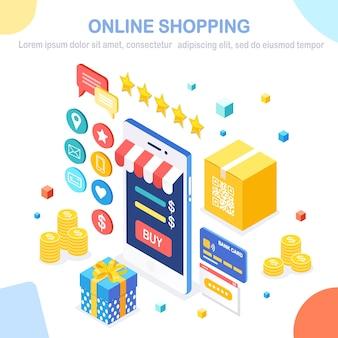 Online winkelen . koop in de winkel via internet. korting verkoop. isometrische mobiele telefoon, smartphone met geld, creditcard, klantrecensie, feedback, geschenkdoos.