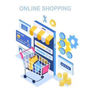 Online winkelen. koop in de winkel via internet. korting verkoop. isometrische smartphone met kar