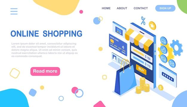 Online winkelen. koop in de winkel via internet. korting verkoop. isometrische smartphone met tas