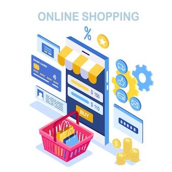 Online winkelen. koop in de winkel via internet. korting verkoop. isometrische telefoon met winkelmandje