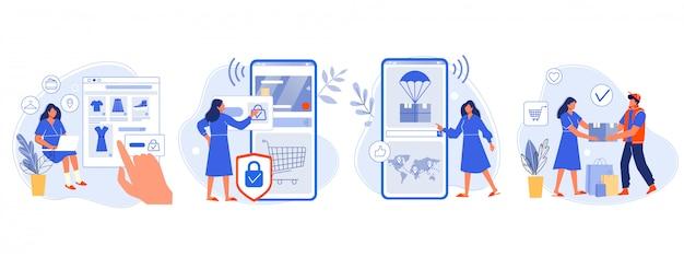 Online winkelen. koper koos goederen, betaalde voor mobiel bankieren, pakketpakket volgen en levering aan klant. online bestelling vlakke afbeelding. aankoopproces in vier stappen. shopper, e-winkel