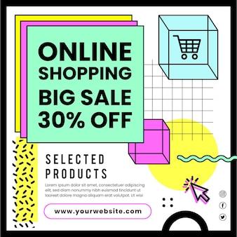 Online winkelen kwadraat flyer-sjabloon