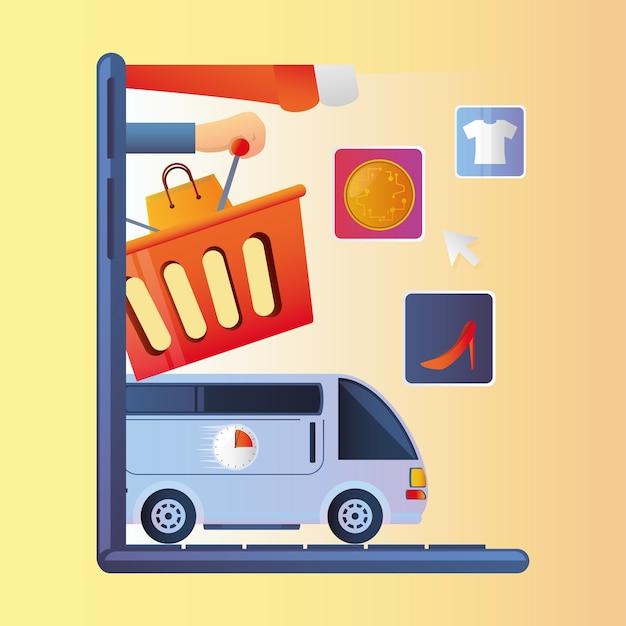 Online winkelen, levering markt geldservice app illustratie