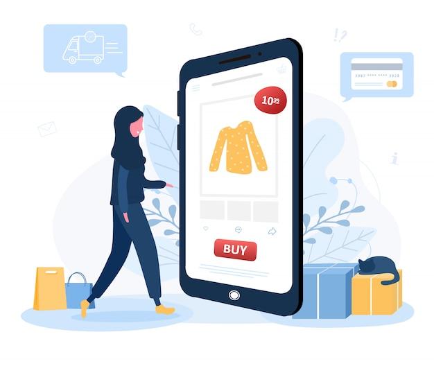 Online winkelen. levering van kleding. arabische vrouwenwinkel bij een online opslagzitting op vloer. de productcatalogus op de webbrowserpagina. blijf thuis achtergrond. quarantaine of zelfisolatie. stijl.