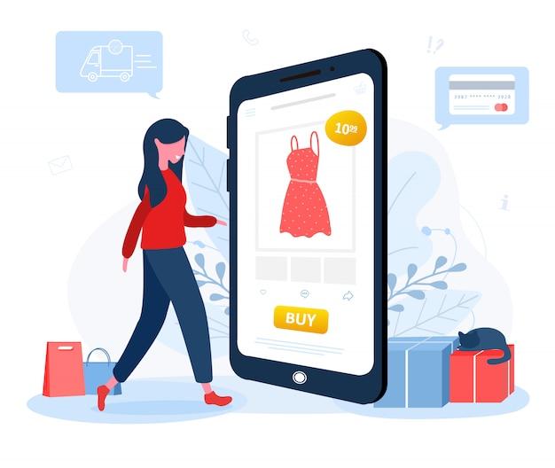 Online winkelen. levering van kleding. een vrouwenwinkel bij een online opslagzitting op een vloer. de productcatalogus op de webbrowserpagina. blijf thuis achtergrond. quarantaine of zelfisolatie. vlakke stijl.