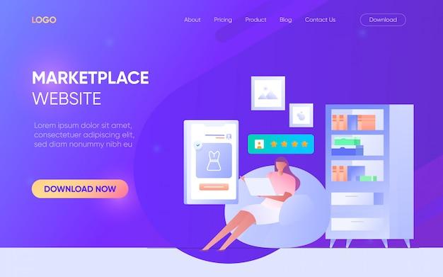 Online winkelen marktplaats mensen man vrouw karakter landingspagina website