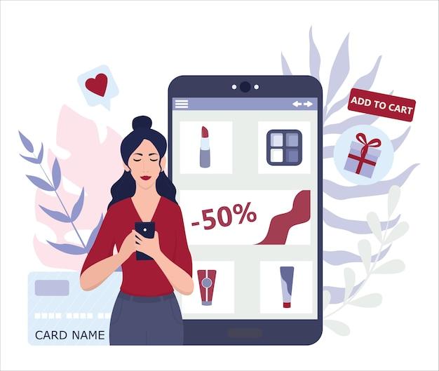 Online winkelen met apparaten. moderne technologie, internet en e-commerce