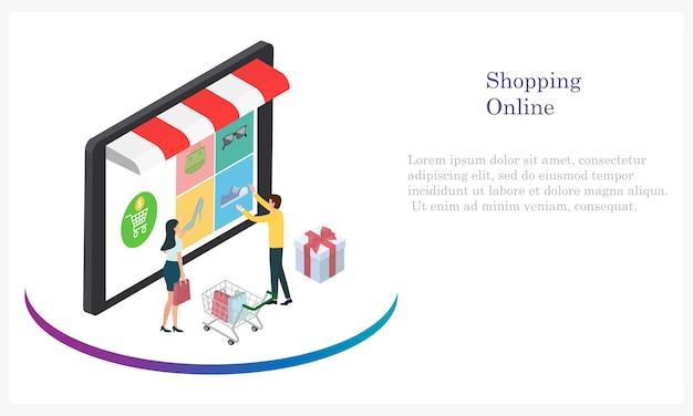 Online winkelen met contant geld en met een creditcard voor de klant