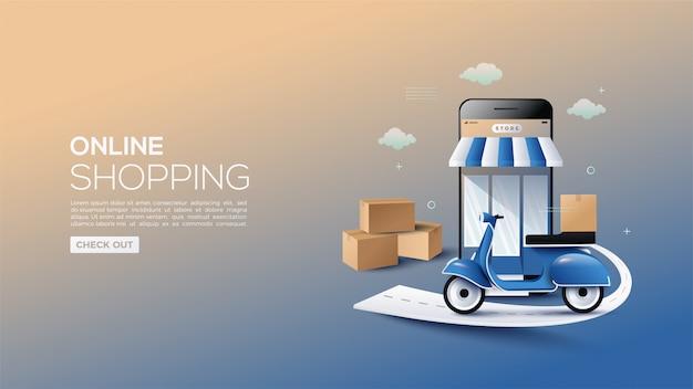 Online winkelen met een inleidende motorbanner.