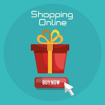 Online winkelen met geschenkdoos banner Gratis Vector