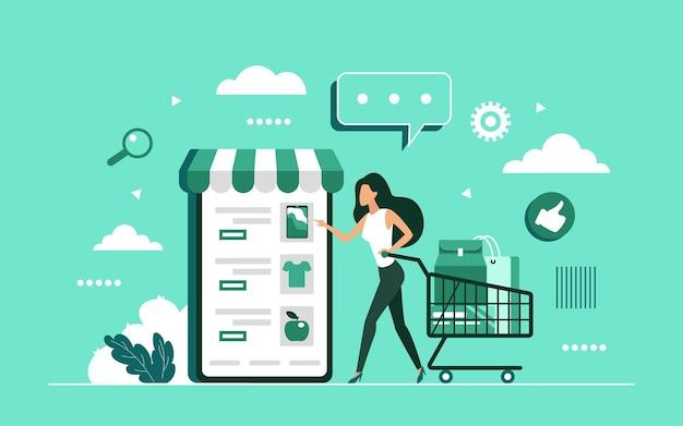 Online winkelen met het app-concept van de mobiele smartphone-winkel