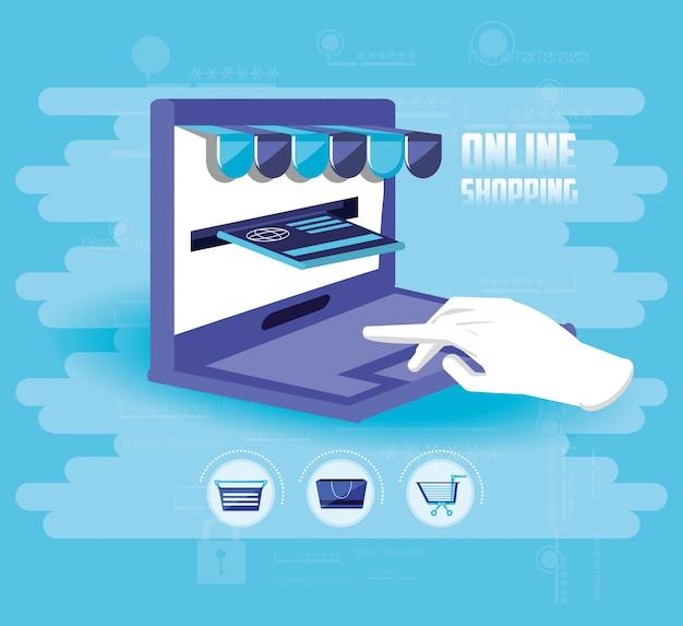 Online winkelen met laptop