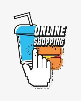 Online winkelen met pop-artstijl voor muiscursor