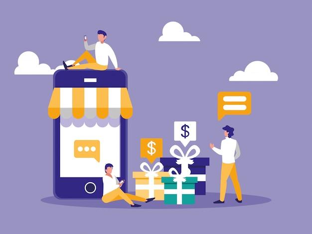 Online winkelen met smartphone en mini-mensen