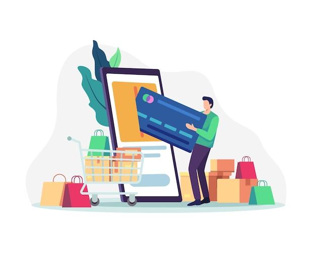 Online winkelen met smartphone. winkelen en betalen via mobiel. illustratie in een vlakke stijl
