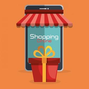 Online winkelen met telefoon