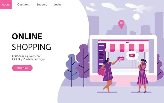Online winkelen met vrouwen die wat dingen op internet kopen, vormen een computer. landende moderne paginasjabloon