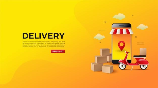 Online winkelen met winkel en motorbanner.