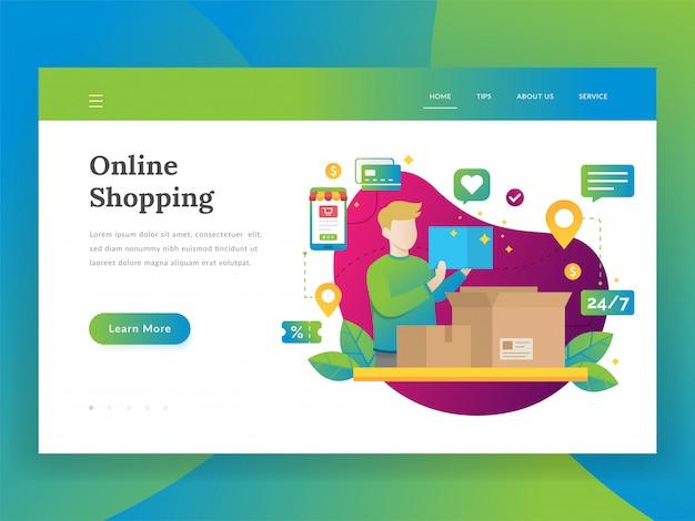 Online winkelen, mobiel marketing en inkoopconcept
