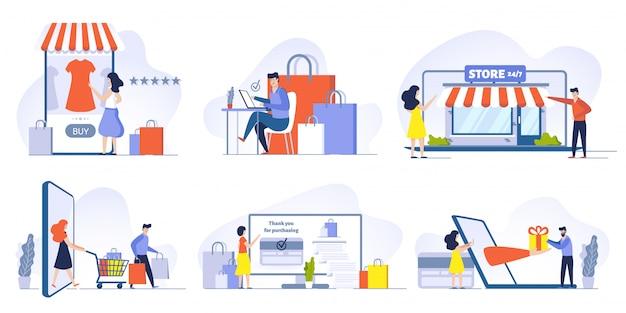 Online winkelen, mobiel winkelen, internetwinkel en winkelwebsite op geplaatste smartphone-illustraties. klanten bestellen en kopen goederen stripfiguren. e-commerce en digitale technologie