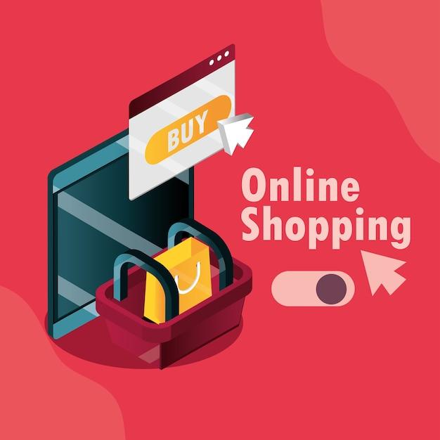 Online winkelen, mobiele mand tas kopen knop klik vector illustratie isometrisch