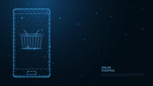 Online winkelen. mobiele telefoon, winkelwagenlijnverbinding. laag poly draadframe-ontwerp. abstracte geometrische achtergrond. vectorillustratie.