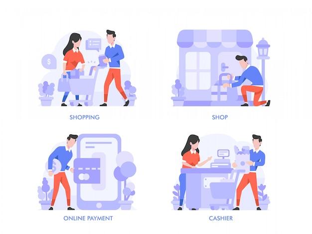 Online winkelen of e-commerce concept in platte ontwerpstijl. boodschappentas, kar, online betaling, kassier, winkel, winkel, illustratie.