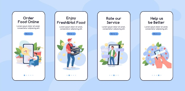 Online winkelen onboarding mobiele app platte schermsjabloon