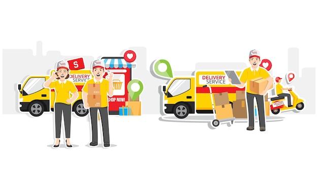 Online winkelen, online bezorgserviceconcept, platte ontwerp illustratie