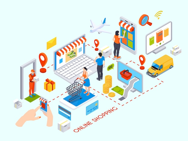 Online winkelen ontwerpconcept met aankoop items creditcards levering koerier isometrische pictogrammen